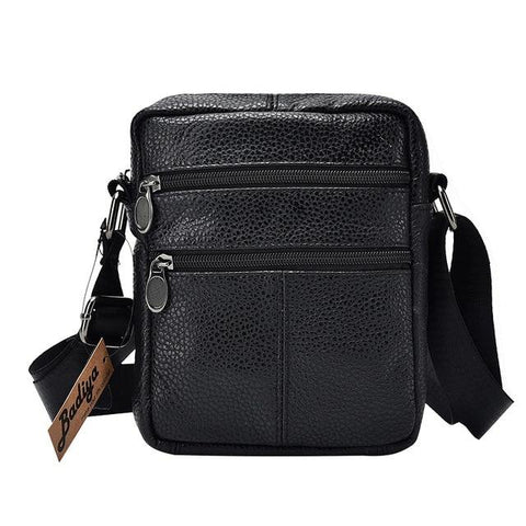 Genuine Cow Leather Mens Business Messenger Bags Zipper Design Solid Crossbody Bag Men Large Capacity Black Shoulder Bag For Man