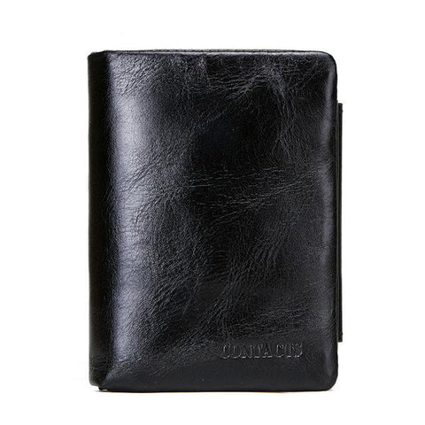 Image of Genuine Leather Men Wallet With Coin Pocket Vintage Hasp Mens Wallets With Card Holder Luxury Brand Short Zip Coin Purse For Men