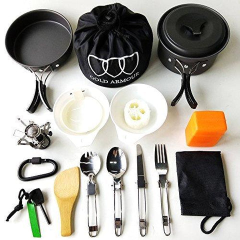 Image of Gold Armour 17Pcs Camping Cookware Mess Kit Backpacking Gear & Hiking Outdoors Bug Out Bag Cooking Equipment Cookset