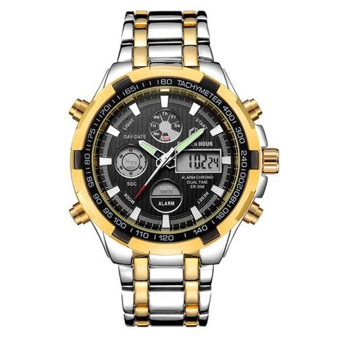Image of GOLDENHOUR Luxury Brand Waterproof Military Sport Watches Men Silver Steel Digital Quartz Analog Watch Clock Relogios Masculinos