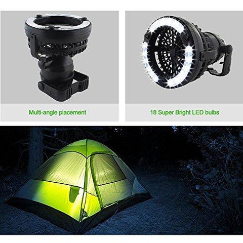 Image of HAITRAL 2-IN-1 LED Tent Light Fan Portable Camping Lantern With Ceiling Fan