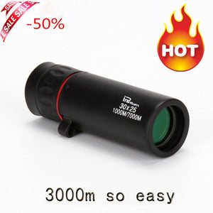 HD 30x25 Monocular Telescope Binoculars Zooming Focus Green Film Binoculor Optical Hunting High Quality Tourism Scope