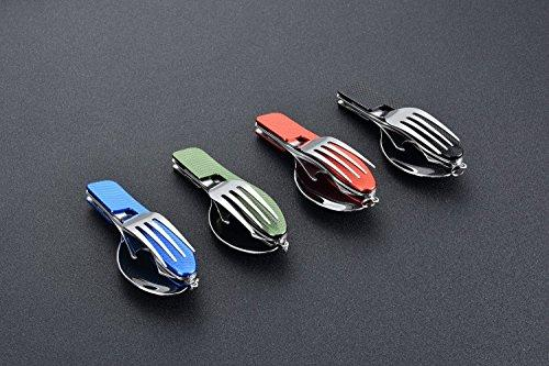 Hikenture TM 4-In-1 Camping Utensil Stainless Steel Fork Knife Spoon Bottle Opener Set With Storage Case