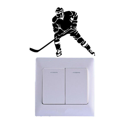 Image of Hockey Player Vinyl Switch Sticker Decoration Room Home Wall Decal