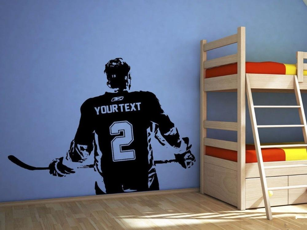 Hockey Player Wall Art Decal Sticker Choose Name & Number Personalized Home Decor Wall Stickers
