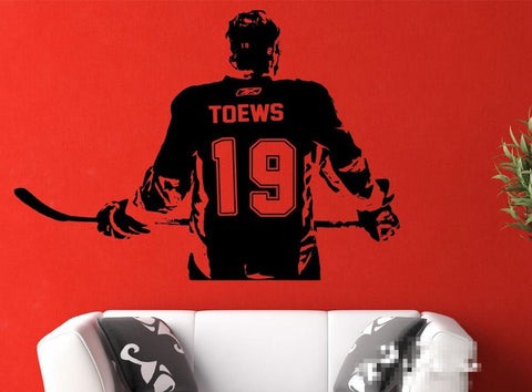 Image of Hockey Player Wall Art Decal Sticker Choose Name & Number Personalized Home Decor Wall Stickers
