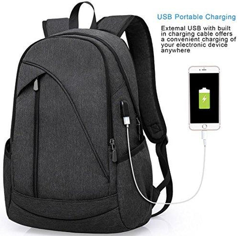 Image of Ibagbar Water Resistant Laptop Backpack With USB Charging Port Fits Up To 15.6-Inch Laptop And Notebook Black