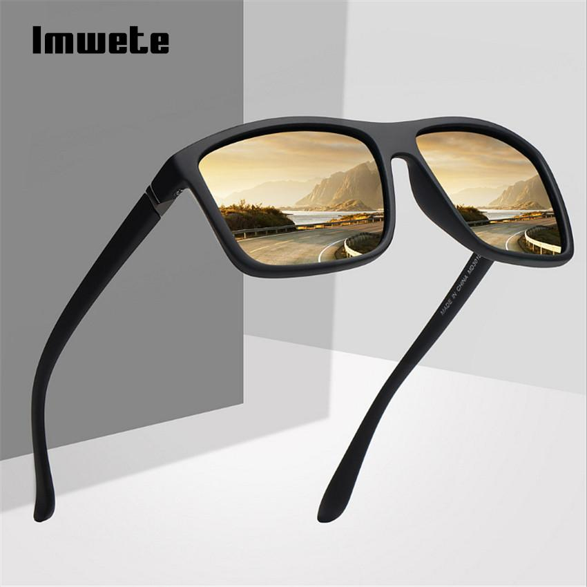 Imwete Polarized Sunglasses Men Movement Designer Driving Sun Glasses Women Vintage Anti-UV Driver Black Eyewear