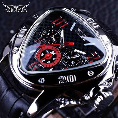 Image of Jaragar Sport Racing Design Geometric Triangle Design Genuine Leather Strap Mens Watches Top Brand Luxury Automatic Wrist Watch