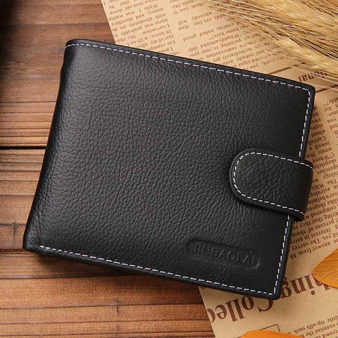 Image of JINBAOLAI Leather Men Wallets Solid Sample Style Zipper Purse Man Card Horder Leather Famous Brand High Quality Male Wallet