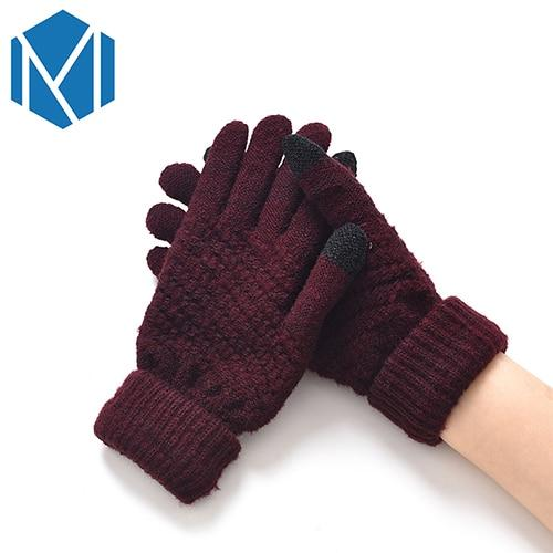 Knitted Gloves For Women Men Winter Warm Screen Sense Gloves Mittens Wool-Knitting Solid Thick Soft Luvas Plush Guantes
