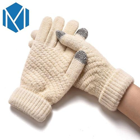 Image of Knitted Gloves For Women Men Winter Warm Screen Sense Gloves Mittens Wool-Knitting Solid Thick Soft Luvas Plush Guantes