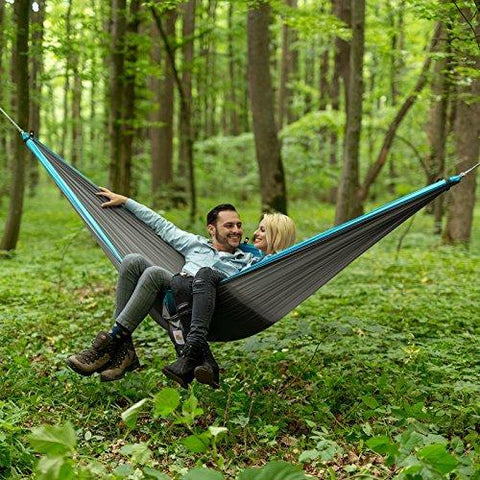 Image of Lazy Monk Portable Camping Hammock Tent - 2 Person Hammocks With Tree Straps - BEST Double Parachute Gear
