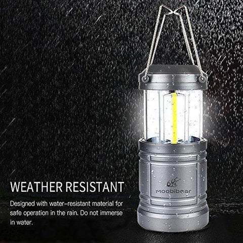 LED Camping Lantern Light Collapsible - Moobibear 500lm COB Technology Battery Powered Water Resistant Lantern With Magnetic Base For Night, Fishing, Hiking, Emergencies