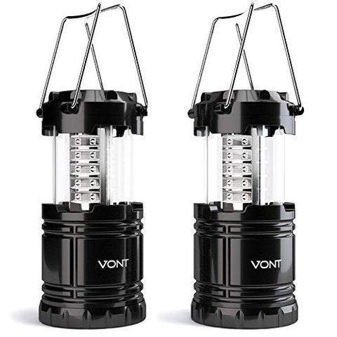 Image of LED Camping Lantern, Survival Kit For Hurricane, Emergency, Storm, Outages, Outdoor Portable Lantern, Black, Collapsible (2 Pack) - Vont