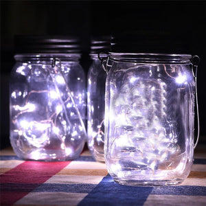 LED Fairy Light Solar Powered For Mason Jar Lid Insert Color Changing Garden Decor