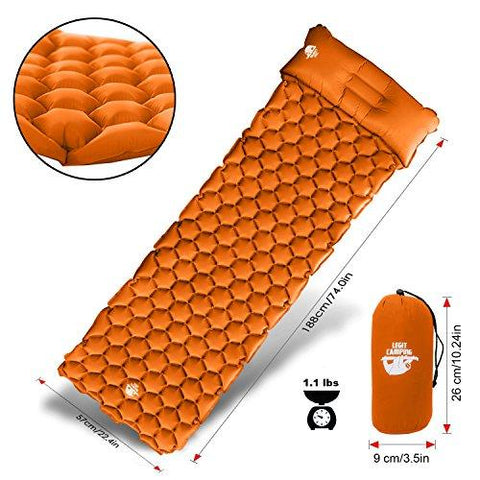 Image of Legit Camping Sleeping Pad Camping Mat By The Most Comfortable Sleeping Mat - Rolls Up Tight - Air Support Cells Transform Your Camping Mattress And Camping Pad - Best Outdoor Sleep (Orange)