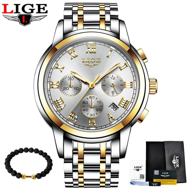 LIGE Men's Watches Military Luxury Brand Watch Mens Quartz Stainless Steel Clock Fashion Chronograph Watch Man Relogio Masculino