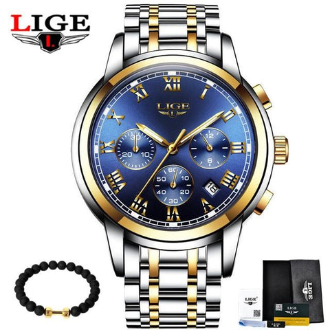 Image of LIGE Men's Watches Military Luxury Brand Watch Mens Quartz Stainless Steel Clock Fashion Chronograph Watch Man Relogio Masculino