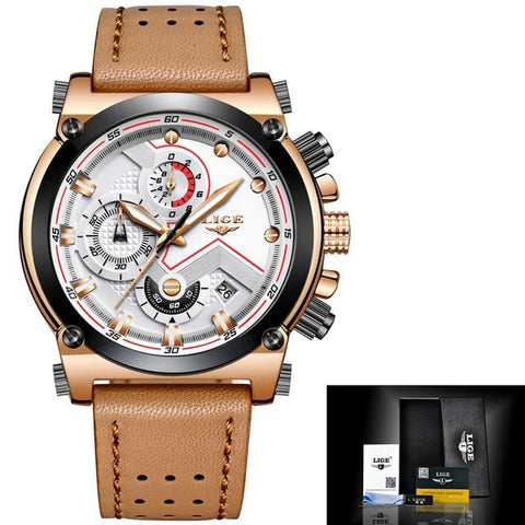 Image of LIGE Men Watch Male Leather Automatic Date Quartz Watches Mens Luxury Brand Waterproof Sport Clock Relogio Masculino