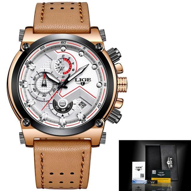 LIGE Men Watch Male Leather Automatic Date Quartz Watches Mens Luxury Brand Waterproof Sport Clock Relogio Masculino