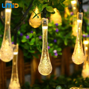 LMID  Colorful Raindrop Solar Lamp Waterproof Christmas Holiday Outdoor Garden Decoration Fairy Solar Battery String Light
