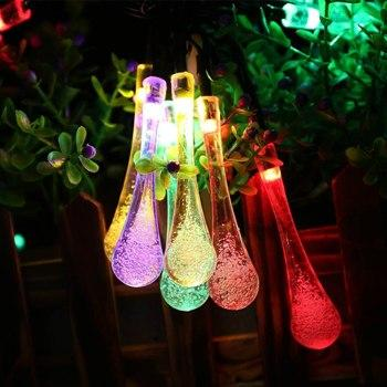 Image of LMID  Colorful Raindrop Solar Lamp Waterproof Christmas Holiday Outdoor Garden Decoration Fairy Solar Battery String Light