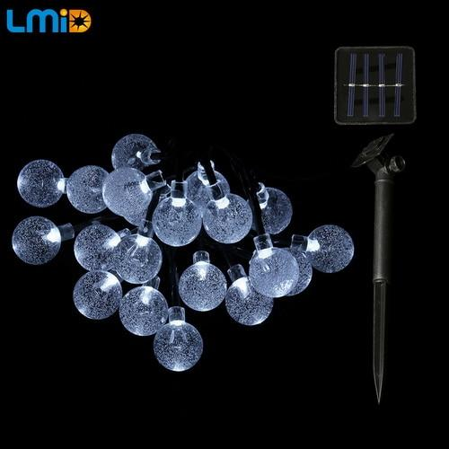 LMID Solar Lamps Crystal Ball Waterproof Colorful Fairy Outdoor Solar Light Garden Christmas Party Decoration String Lights