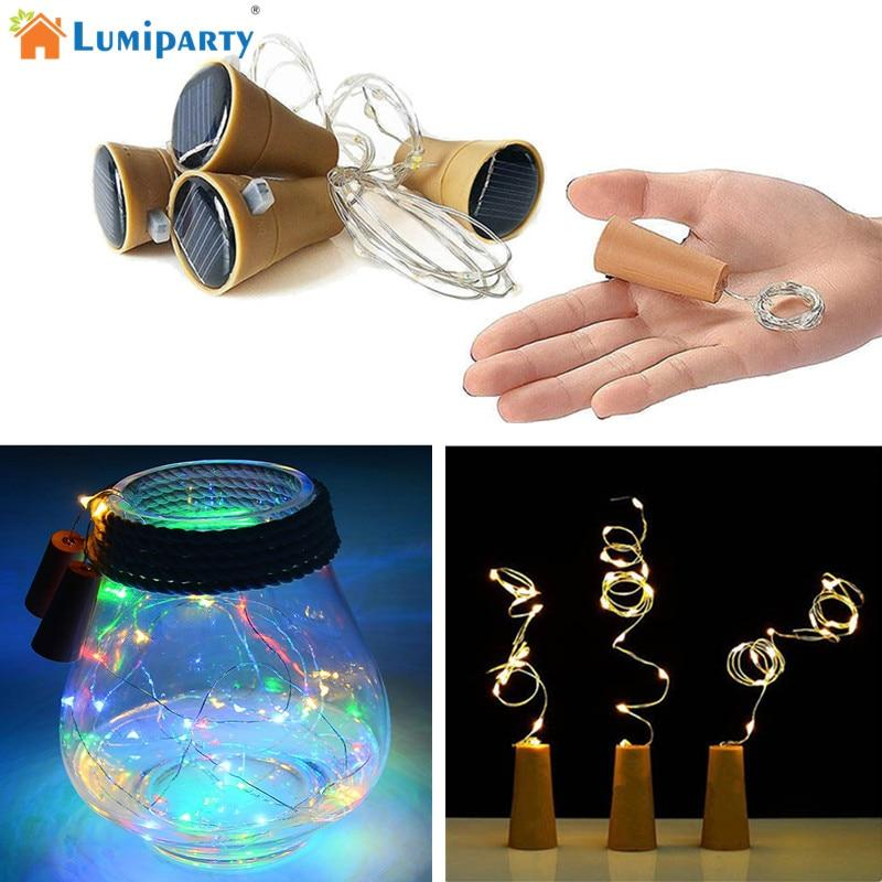 LumiParty 8LED/10LED Solar Powered Wine Bottle Cork Shape LED Fairy Strip Copper Garland Festoon Wire String Christmas Light K30