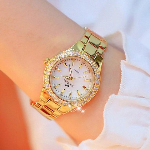 Image of Luxury Brand Lady Crystal Watch Women Dress Watch Fashion Rose Gold Quartz Watches Female Stainless Steel Wristwatches