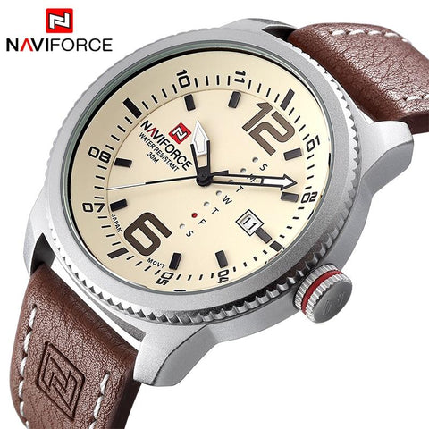 Image of Luxury Brand NAVIFORCE Men Sport Watches Men's Quartz Clock Man Army Military Leather Wrist Watch  Relogio Masculino