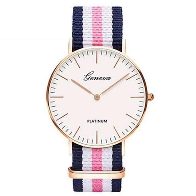 Luxury Mens Or Womens Geneva Platinum Watches Nylon Wrist Watch Quartz Watch Hours Clock