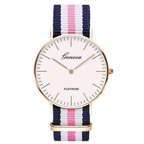 Image of Luxury Mens Or Womens Geneva Platinum Watches Nylon Wrist Watch Quartz Watch Hours Clock