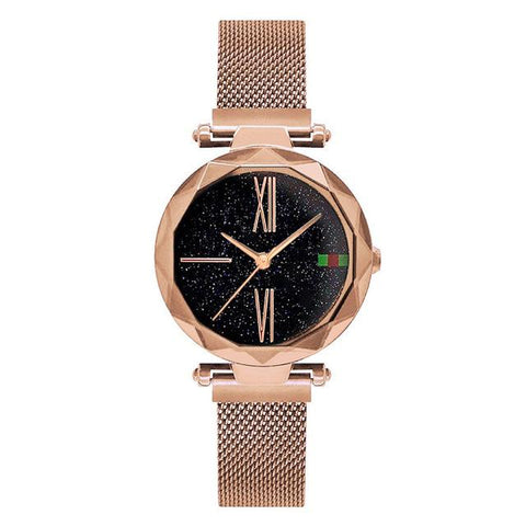 Image of Luxury Rose Gold Women Watches Minimalism Starry Sky Magnet Buckle Fashion Casual Female Wristwatch Waterproof Roman Numeral