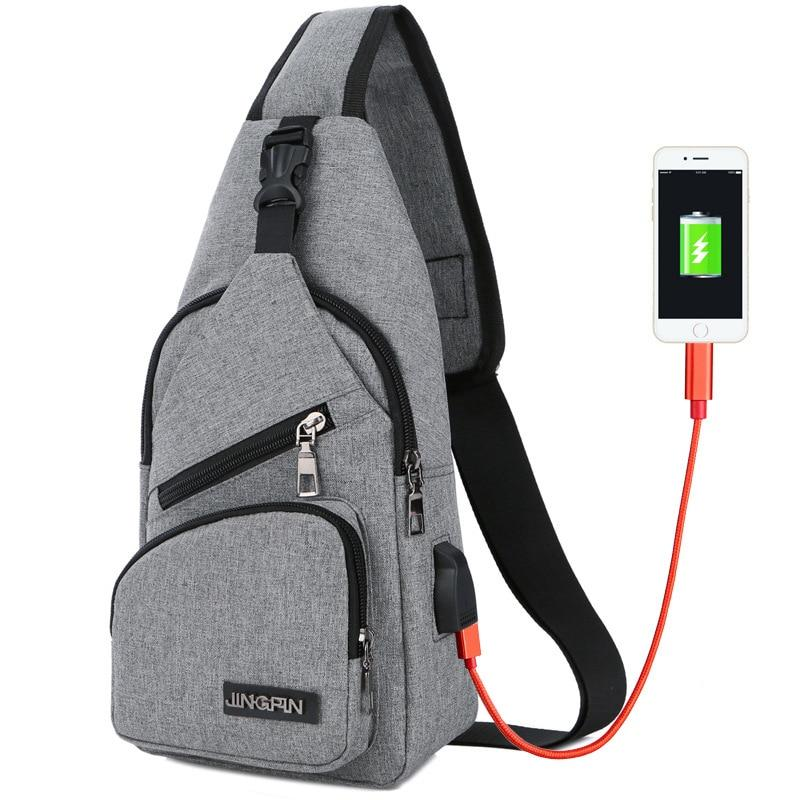Male Chest Bag USB Charging Sling Shoulder Bags Men's Leisure Messenger Bag Crossbody Ultra-light Outdoor Sport Tourism Bags