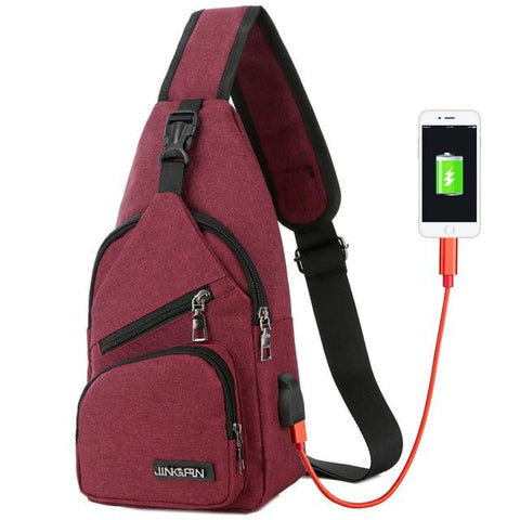 Image of Male Chest Bag USB Charging Sling Shoulder Bags Men's Leisure Messenger Bag Crossbody Ultra-light Outdoor Sport Tourism Bags
