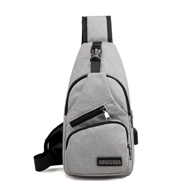 Male Shoulder Bags USB Charging Crossbody Bags Men Anti Theft Chest Bag School Summer Short Trip Messengers Bag