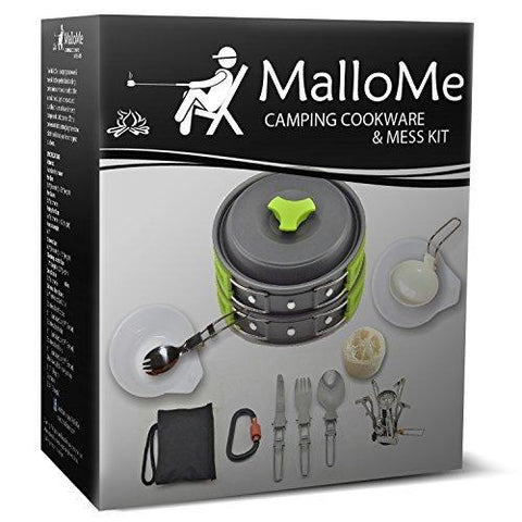 Image of MalloMe Camping Cookware Mess Kit Backpacking Gear & Hiking Outdoors Bug Out Bag Cooking Equipment Cookset | Lightweight, Compact, Durable Pot Pan Bowls - Free Folding Spork, Nylon Bag, Ebook