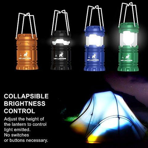 Image of MalloMe LED Camping Lantern Flashlights Camping Gear Accessories Equipment - Great For Emergency, Tent Light, Backpacking, 4 Pack Gift Set