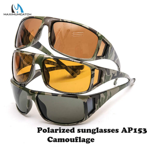 Image of Maximumcatch Camouflage Frame Fly Fishing Polarized Sunglasses Gray/Yellow/Brown Color Fishing Sunglasses