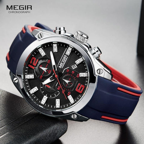 Image of Megir Men's Chronograph Analog Quartz Watch With Date, Luminous Hands, Waterproof Silicone Rubber Strap Wristswatch For Man