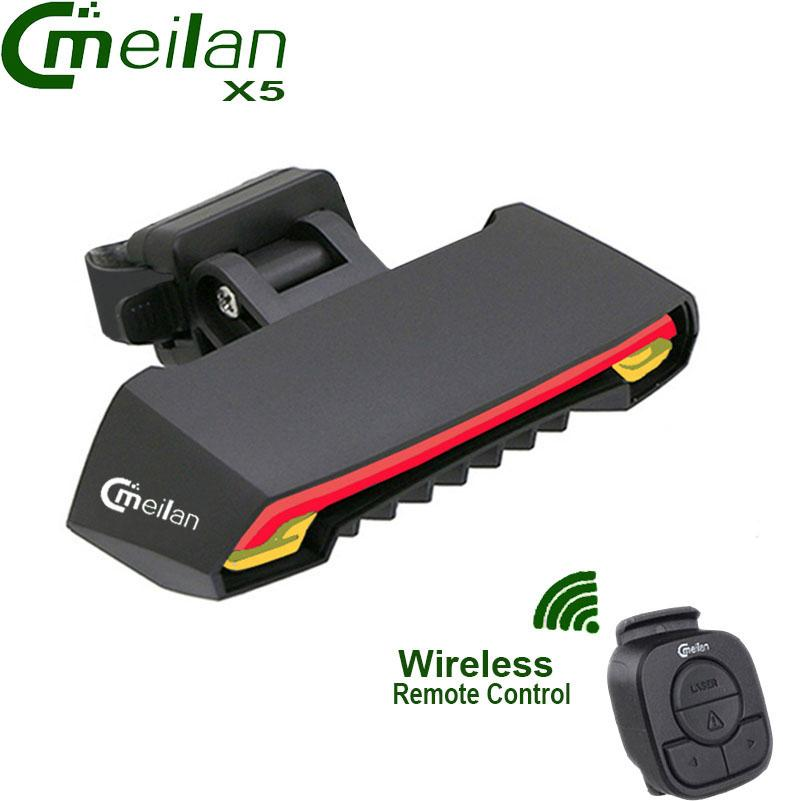 Meilan X5 Wireless Bicycle Rear Light Laser Tail Lamp Smart USB Rechargeable Cycling Accessories Remote Turn Led