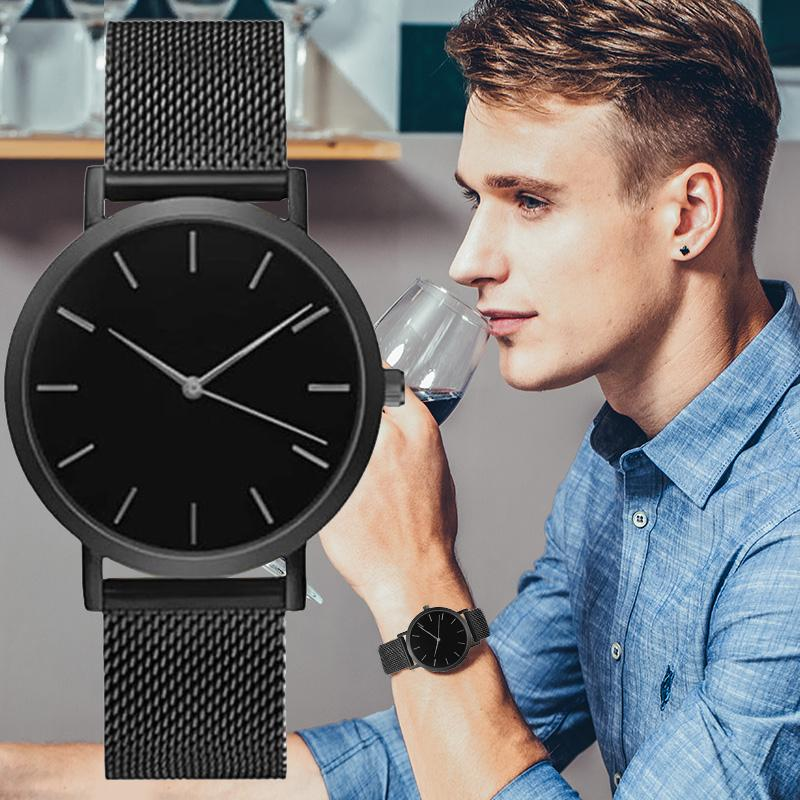 Men Full Steel Quartz Watch Mens Fashion Hot Watches Black Gold Silver Male Analog Wristwatches