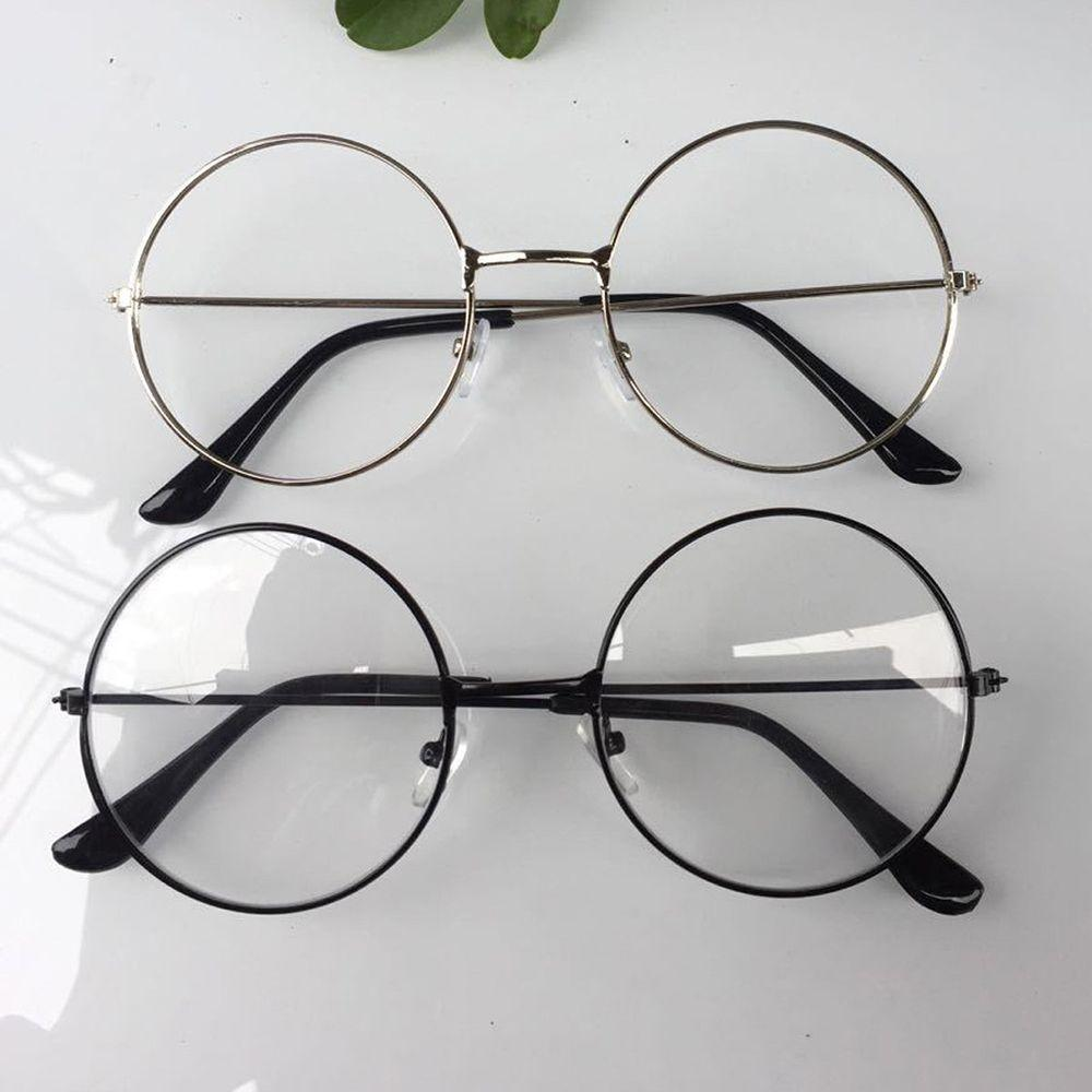 Men Or Woman Retro Large Round Glasses Transparent Metal Eyeglass Frame Black Silver Gold Spectacles Eyeglasses 3 Colors
