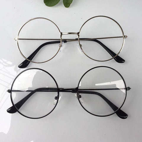 Image of Men Or Woman Retro Large Round Glasses Transparent Metal Eyeglass Frame Black Silver Gold Spectacles Eyeglasses 3 Colors