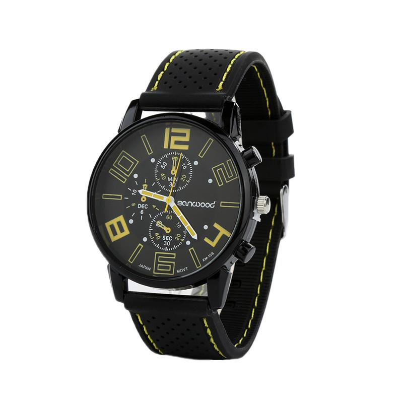 Men's Casual Sports Stainless Steel Silicone Band Quartz Analog Wrist Watch