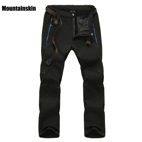 Image of Men's Winter Softshell Inner Fleece Pants Outdoor Sports Waterproof Skiing Trekking Hiking Camping Male Trousers