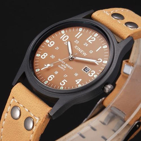 Image of Men Watches Relogio Masculino Classic Men's Waterproof Date Leather Strap Sport Quartz Army Watch Men Cool Montre Homme