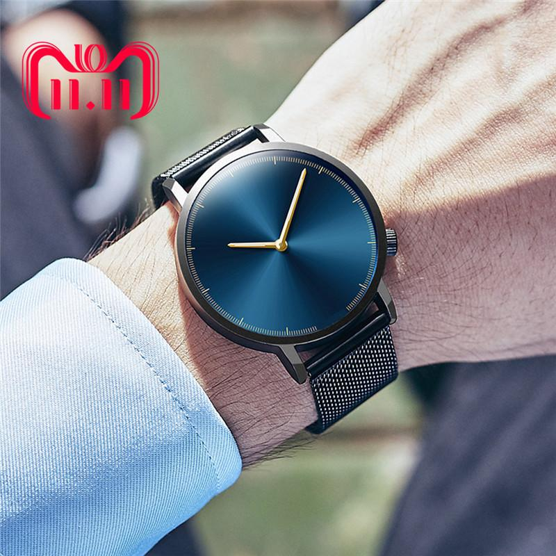 Mens Business Male Watch Fashion Classic Gold Quartz Stainless Steel Wrist Watch Watches Men Clock