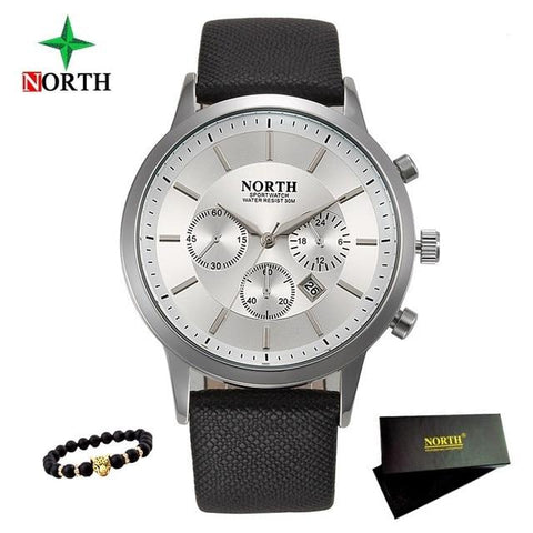 Image of Mens Watches NORTH Brand Luxury Casual Military Quartz Sports Wristwatch Leather Strap Male Clock Watch Relogio Masculino
